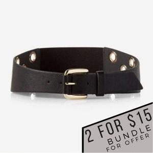 EXPRESS Grommet Stretch Belt Wide Faux Leather NWT